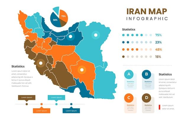 フラットイラン地図インフォグラフィックテンプレート 無料ベクター