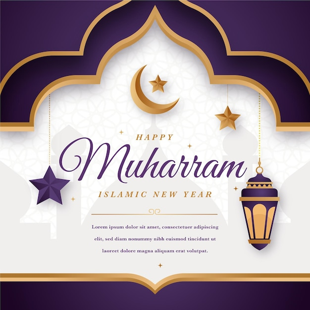 Flat islamic new year concept Free Vector