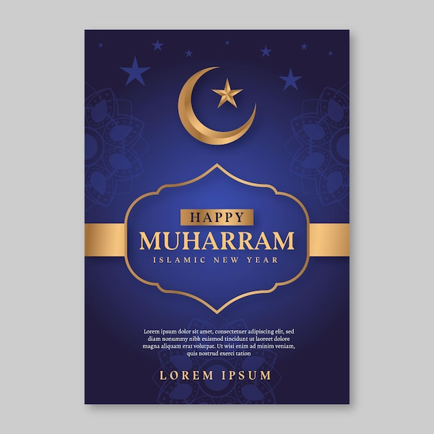 Flat islamic new year poster concept Free Vector
