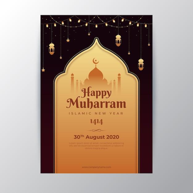 Poster di capodanno islamico piatto Vettore gratuito