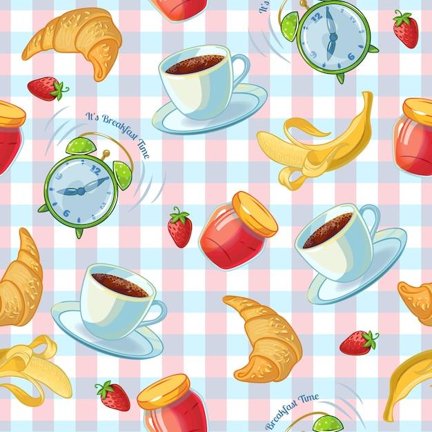 Плоский изолированный узор с чашкой кофе круассаны будильник и варенье на скатерть Бесплатные векторы