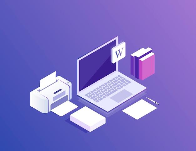 Flat isometric 3d workspace  . devices set on ultraviolet . laptop, printer, paper. modern  illustration Premium Vector