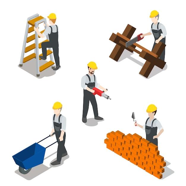 Плоский изометрический строитель строитель значок набор концепции Бесплатные векторы