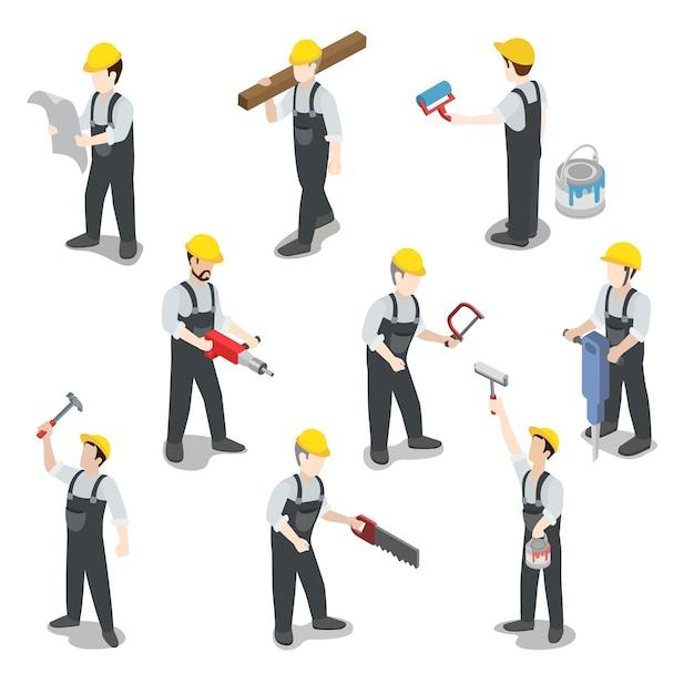 Плоский изометрический строитель строительный рабочий набор иконок Бесплатные векторы