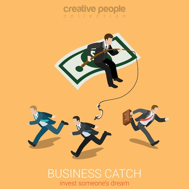 Flat isometric business catch invest dream Free Vector