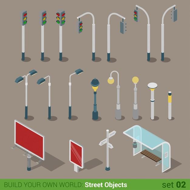 Flat isometric city street urban objects. traffic lights street lights big board citylight bus transport stop. Free Vector
