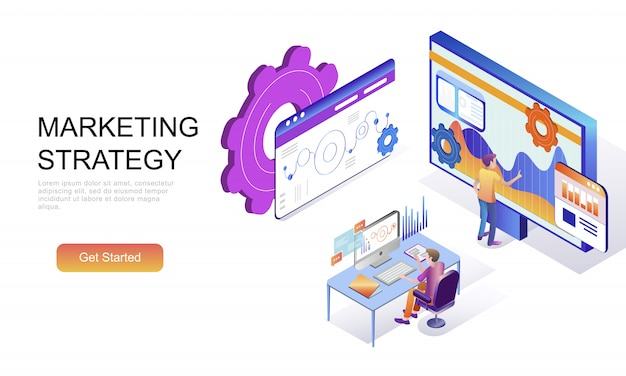 Flat isometric concept of marketing strategy Premium Vector