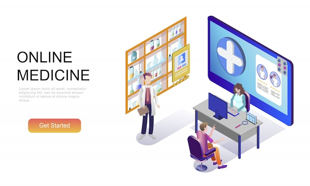 Flat isometric concept of medicine and healthcare Premium Vector