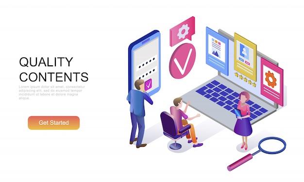 Flat isometric concept of quality content Premium Vector