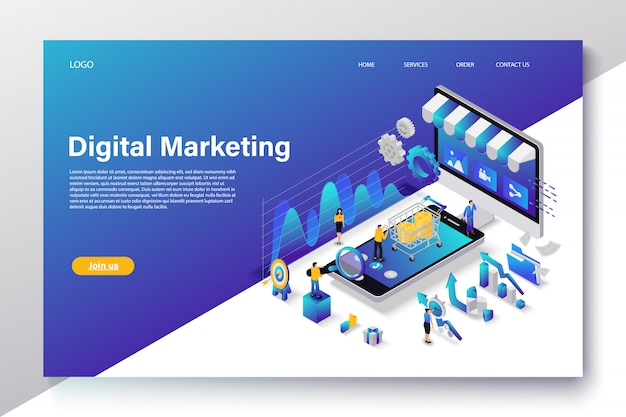 Flat isometric digital marketing concept Premium Vector