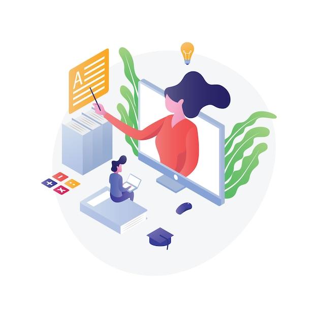 Flat isometric education illustration Premium Vector