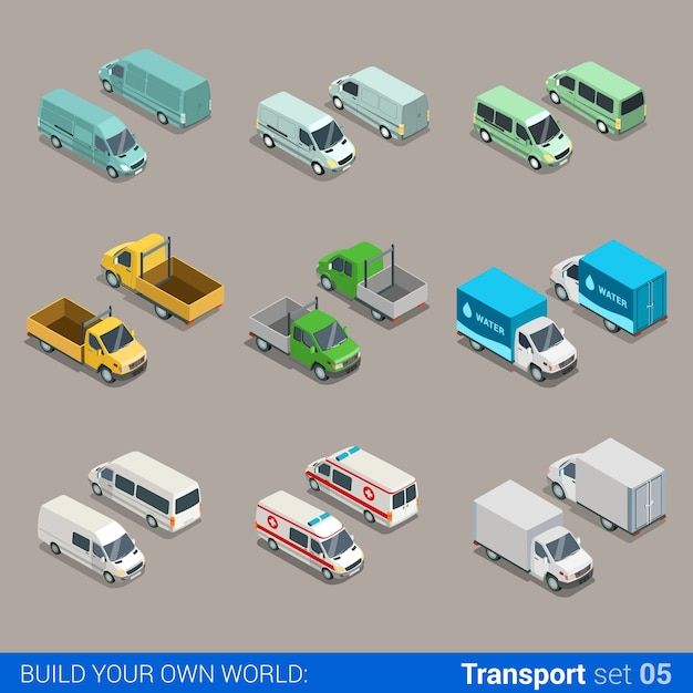 Flat isometric high quality city freight cargo transport icon set car truck van construction ambulance delivery water micro bus build your own world web infographic collection Premium Vector