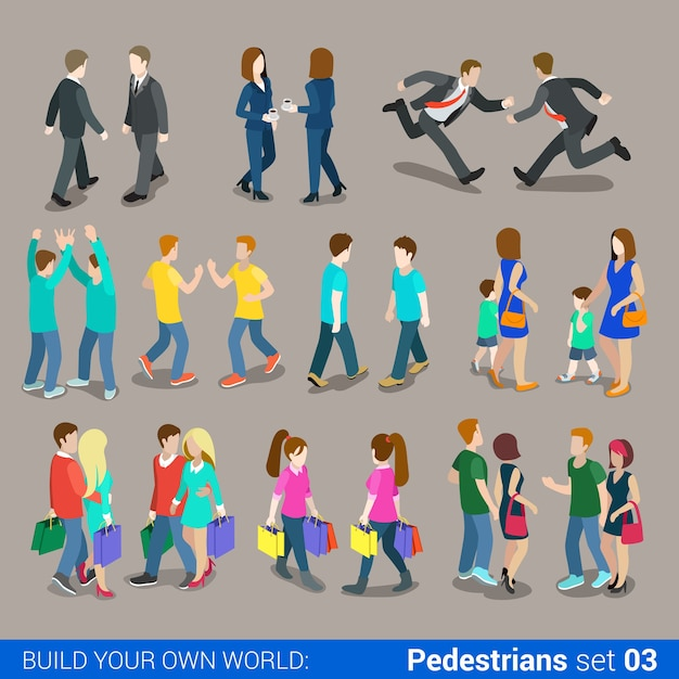 Flat isometric high quality city pedestrians icon set business people casual teens couples carrying shopping bags build your own world web infographics collection Free Vector