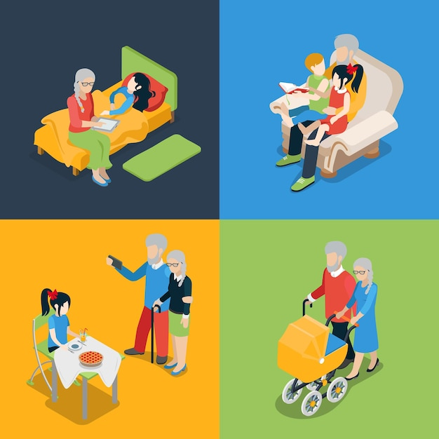 Flat isometric high quality family oldies grandparents parenting time icon set. grandpa granny grandson granddaughter fairy tale reading pram walking. creative people collection Free Vector