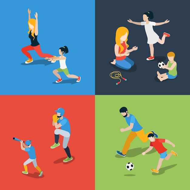 Flat isometric high quality family sports play parenting time icon set. mom daughter son dad skipping rope baseball soccer football dancing. build your own world collection. Free Vector