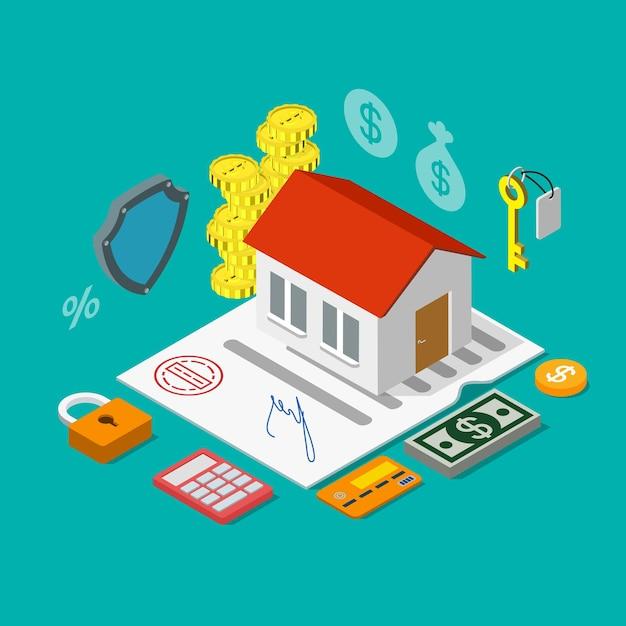 Плоский изометрический жилищный ипотечный кредит Premium векторы