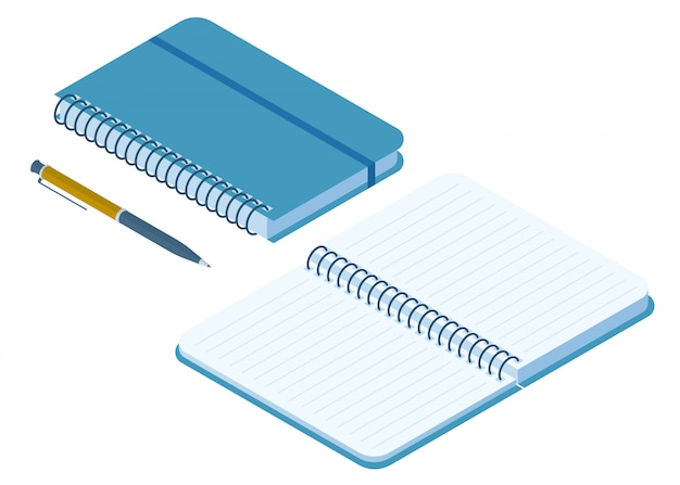 Flat isometric illustration of closed and opened paper notebook. Premium Vector