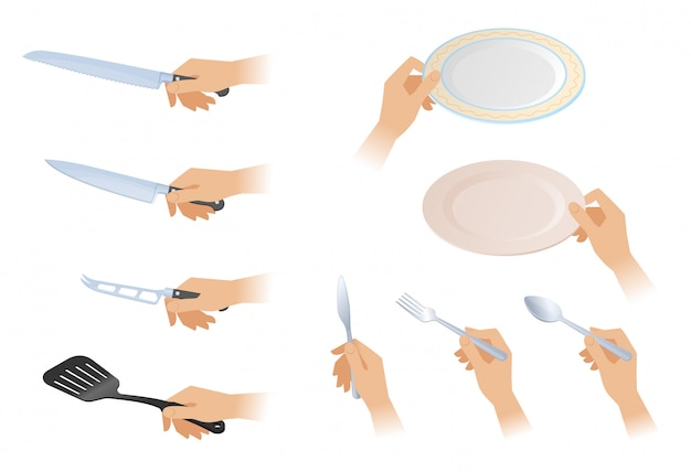 Flat isometric illustration of hands with different cutlery set. Premium Vector