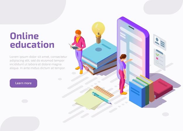 Illustrazione isometrica piatta dell'istruzione online. Vettore gratuito