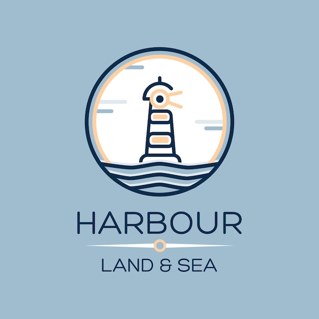 Flat isometric lighthouse icon on blue sea Free Vector