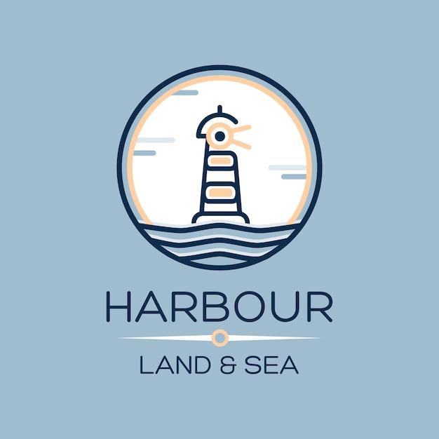 Плоский изометрический значок маяка на синем море Бесплатные векторы