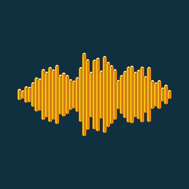 Flat isometric music wave icon made of peak lines Premium Vector