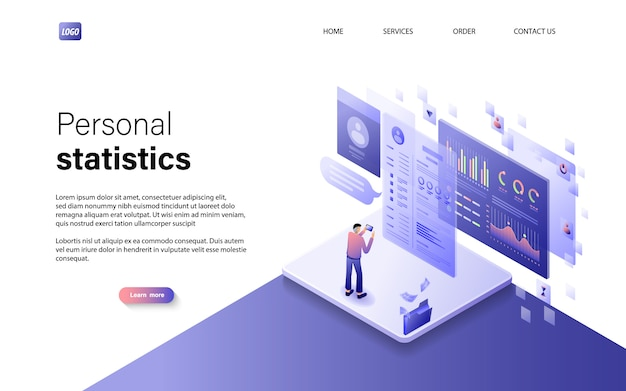 Flat isometric personal statistics concept with character Premium Vector