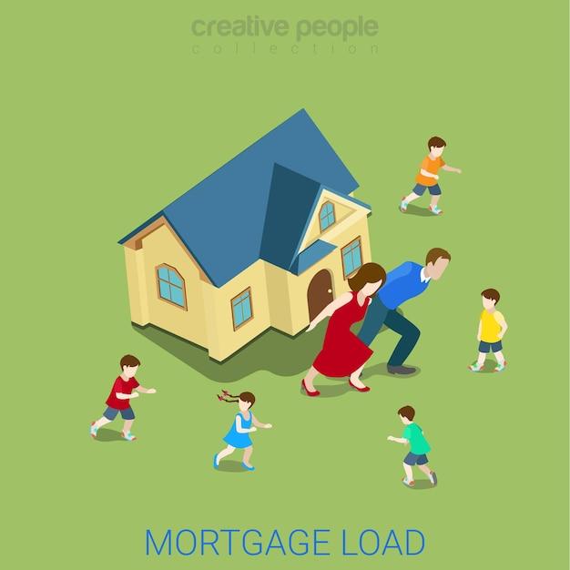 Attività finanziarie di carico di prestito ipotecario piatto stile isometrico Vettore gratuito