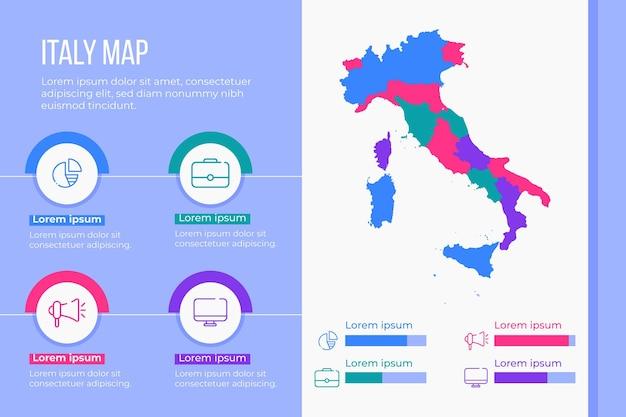 フラットイタリア地図インフォグラフィック 無料ベクター