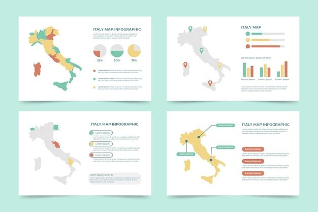 Piatto italia mappa infografica Vettore gratuito