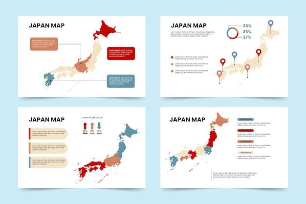 Piatto giappone mappa infografica Vettore gratuito