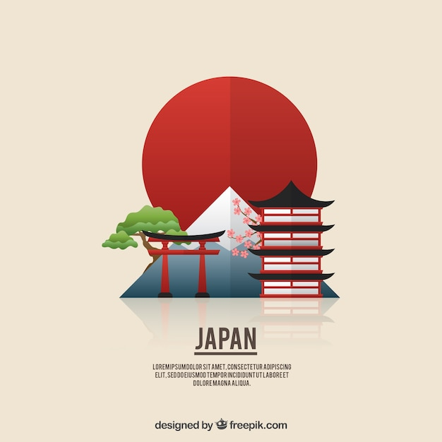 Flat japanese landscape background vector free download for Meine wohnung click design download