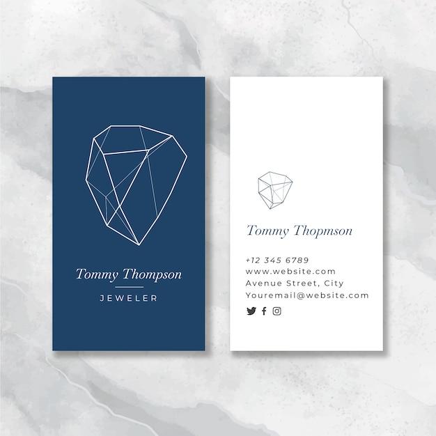 Flat jeweler blue business card Free Vector