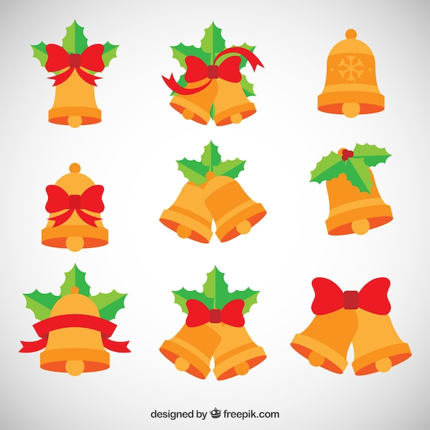 Flat jingle bells collection Free Vector