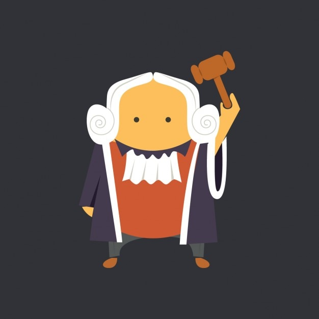Flat Judge with Hammer Free Vector
