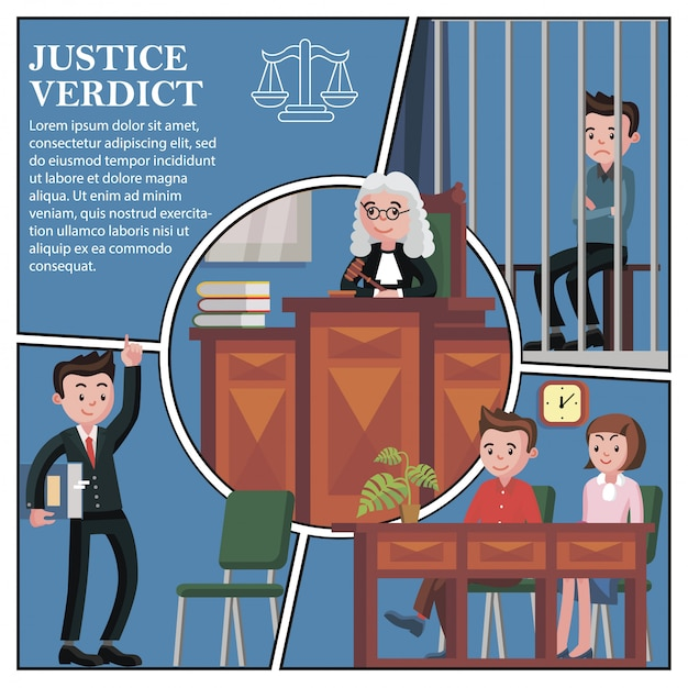 Flat judicial session participants composition with lawyer jury judge and defendant sitting behind bars Free Vector