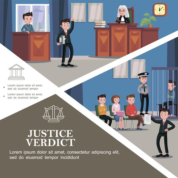 Modello di sistema giudiziario piatto con diversi partecipanti all'udienza e documento di detenzione di avvocato felice con verdetto di giustizia davanti alla giuria Vettore gratuito