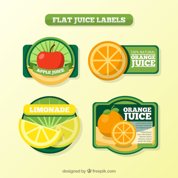 Download Vector - Juice labels in flat design - Vectorpicker