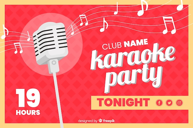 Flat karaoke party banner template Free Vector