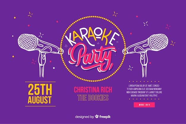 Flat karaoke party banner template Free Vector