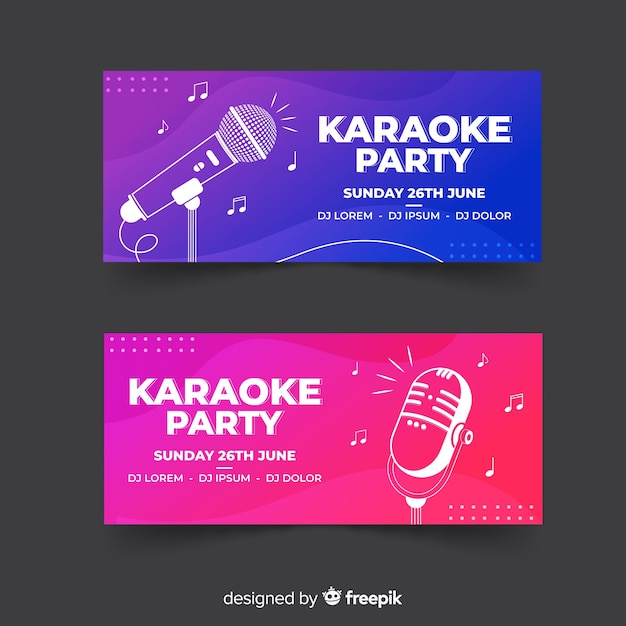 Flat karaoke party banner template Premium Vector