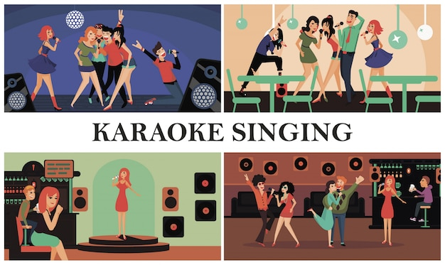 Flat karaoke party colorful composition with happy men and women singing karaoke in club Free Vector