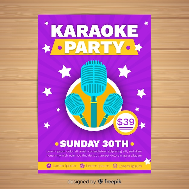 Flat karaoke party poster template Free Vector