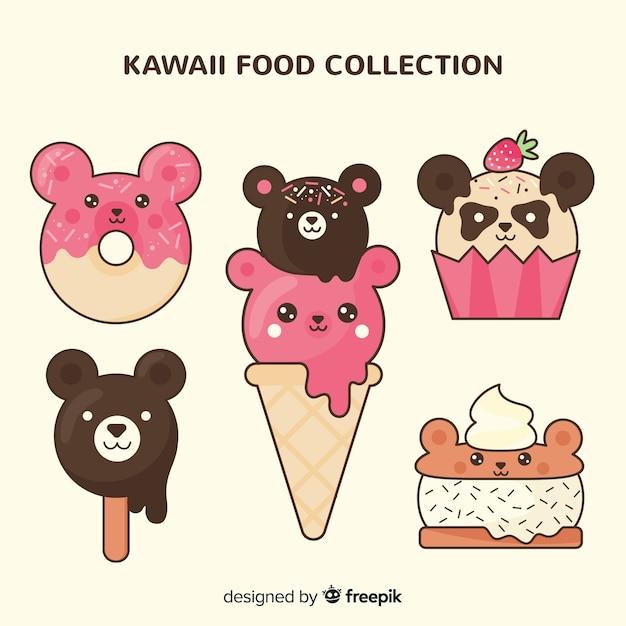 Flat kawaii food collection Free Vector