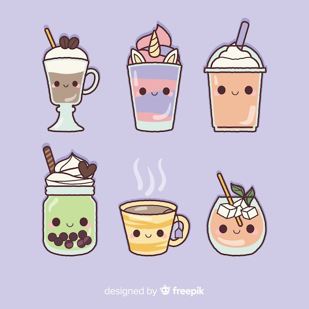 Flat kawaii food collection Free Vector