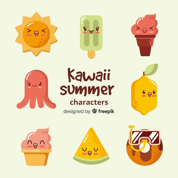 Flat kawaii summer elements collection Free Vector