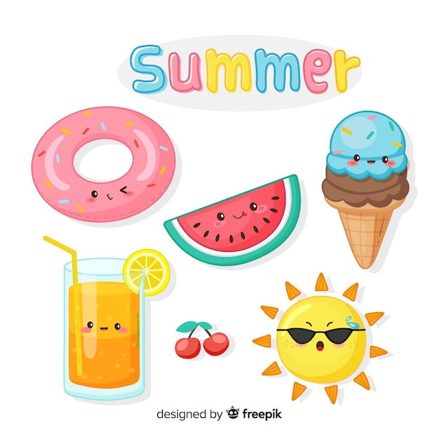 Flat kawaii summer elements collection Free Vector