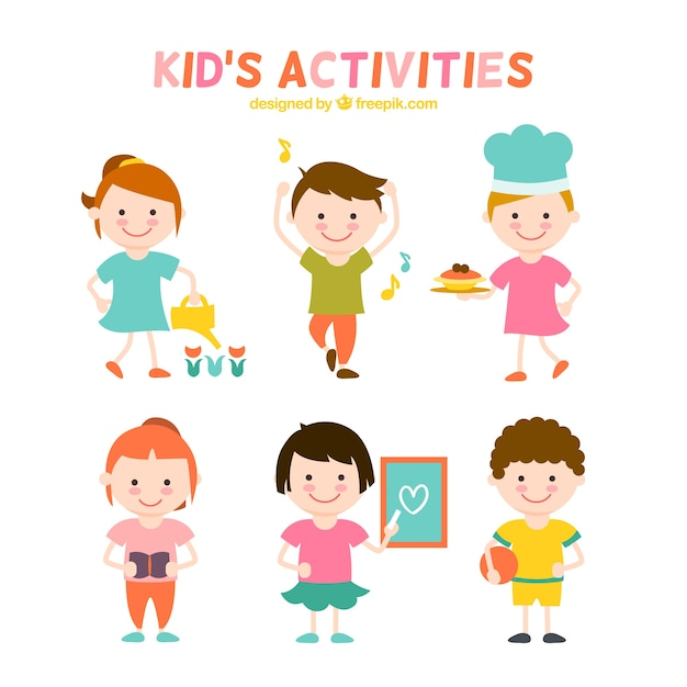 flat kids activities collection free vector - Kids Images Free Download