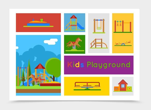 Composizione di parco giochi per bambini piatto Vettore gratuito