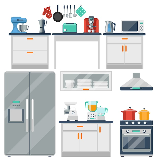 Flat  kitchen with cooking tools, equipment and furniture. refrigerator and microwave, toaster and cooker, blender and grinder Free Vector